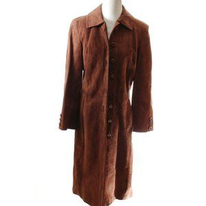 Vintage suede leather trench jacket women's 60s 70